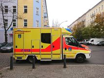 German ambulance service. Berlin, Germany - October 30, 2018: Ambulance service first aid. 112 is the single European emergency number that can be dialed free of stock image