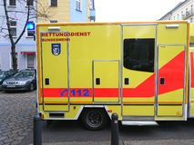 German ambulance service. Berlin, Germany - October 30, 2018: Ambulance service first aid. 112 is the single European emergency number that can be dialed free of royalty free stock photos