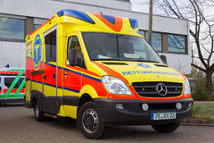 German ambulance vehicle stands on hospital Royalty Free Stock Photos