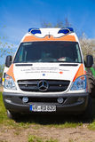 German ambulance vehicle stands on tractor show Stock Photos