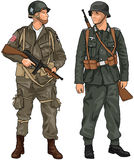 German and American Soldiers of WW2 Royalty Free Stock Photography