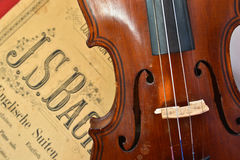 German ancient violin and notes. Royalty Free Stock Photography