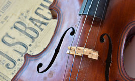 German ancient violin and notes. Stock Image