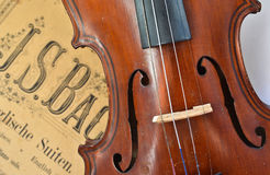 German ancient violin and notes. Stock Photo