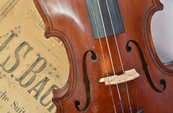 German ancient violin and notes. Stock Photography