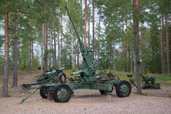 German anti-aircraft gun during the Second world war in close-up. A fragment of a Finnish defensive line `Suomen Salpa` Royalty Free Stock Photos