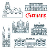 German architectural landmarks icon in thin lines Stock Images