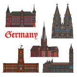 German architectural travel landmark icon set. German travel landmark thin line icon set with architectural heritage of Germany. Cologne Cathedral, St. Lambert Royalty Free Stock Photos