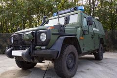 German armored military police vehicle stands on platform royalty free stock photos