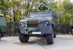 German armored military police vehicle stands on platform stock photos