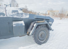 German armored vehicle, front wheel and exhaust pipe Royalty Free Stock Image