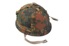 German army helmet with camouflage cover isolated on white background Royalty Free Stock Image
