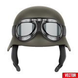 German Army helmet with protective goggles Stock Image
