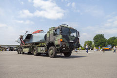 German army MAN GL truck with a disassembled Panavia Tornado aircraft Stock Photography