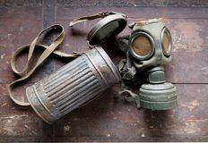 German Army old gas mask with its container, used during second world war Stock Photos