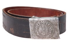 German army soldier belt. Buckle with imperial eagle and inscription Stock Images