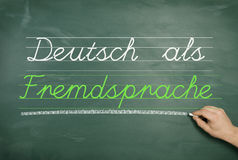 German as a foreign language. A green school board with one hand and the text German Learner's Dictionary Royalty Free Stock Images