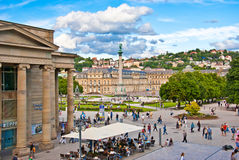 German atmosphere in Stuttgart - Schlossplatz. Schlossplatz is the largest square in the city centre of Stuttgart Stock Photo