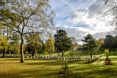 German Military War Cemetery in Staffordshire, England. 4787 German and Austrian servicemen war graves set amongst Cannock Chase area of Outstanding Natural Royalty Free Stock Photography