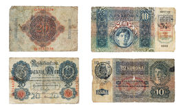 German and Austro-Hungary old banknotes Stock Image