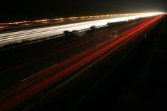 German autobahn. The german autobahn in a rainy night stock photography