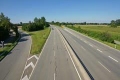 German autobahn. Details of German autobahn receding into distance, Bavaria, Germany stock image
