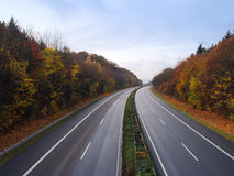 German autobahn in the autumn royalty free stock images