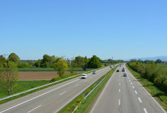 German Autobahn. High angle view of the Autobahn, near Lahr exit, Baden Germany stock images