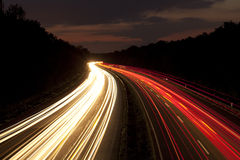 A german Autobahn at night Royalty Free Stock Photo