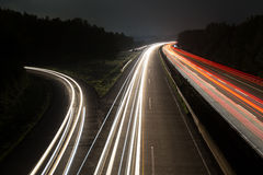 German autobahn traffic lights at night Royalty Free Stock Photography