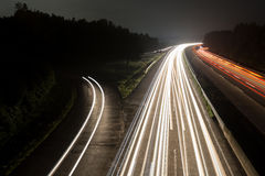 German autobahn traffic lights at night Royalty Free Stock Photos