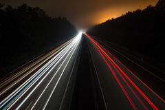 German autobahn traffic lights at night Stock Images