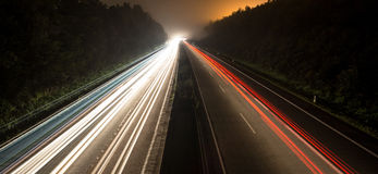 German autobahn traffic lights at night Royalty Free Stock Image