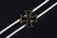 German award - Iron Cross on black. Background royalty free stock images