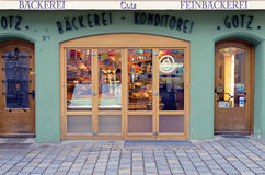 German bakery. Typical Bakery store facade in Bad Tolz. Bavaria, Germany Royalty Free Stock Image