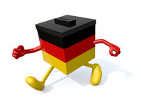 German ballot box cartoon. German election ballot box with arms, envelope paper and pencil on hands, 3d illustration Royalty Free Stock Photography