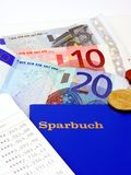 A German bank book with euro currency stock photos