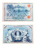 German banknote from 1908. Front and back side of a German Reichsbanknote of 100 Mark from 1908 Royalty Free Stock Images