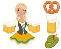 German barmaid for Oktoberfest. Blonde girl in traditional german dress serving large pints of beer with separate clip art set Stock Images