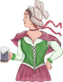 German Barmaid Serving Beer Watercolor Stock Images