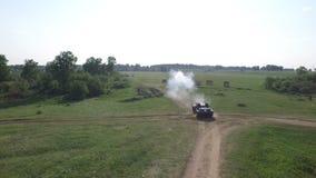 German battle tank firing main gun stock video