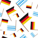 German And Bavarian Flag Seamless Pattern Oktoberfest Festival Holiday Concept. German And Bavarian Flag Icon Oktoberfest Festival Holiday Concept Flat Vector Royalty Free Stock Photography