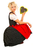German bavarian girl in typical oktoberfest dress Royalty Free Stock Photos