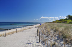 German beach and blue sky, Fischland Darss, Baltic. German Baltic coast (Ostsee), white sand and dune grass. Fischland-Darss, Germany Royalty Free Stock Photos