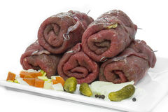 German beef rolls, uncooked Stock Photos