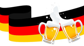 German beer. Vector illustration of the two beer mugs and german flag stock illustration