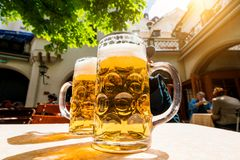 German beer. In a beer garden Royalty Free Stock Photography