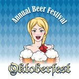 German beer festival Emblem. Pretty girl with mugs of beer and wording Oktoberfest. Famous German Beer Festival Emblem Stock Image
