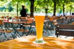 German beer. In a beer garden Royalty Free Stock Images