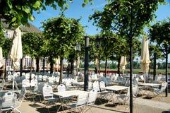 German beer garden. Empty outdoor beer garden in Dresden, Germany royalty free stock images